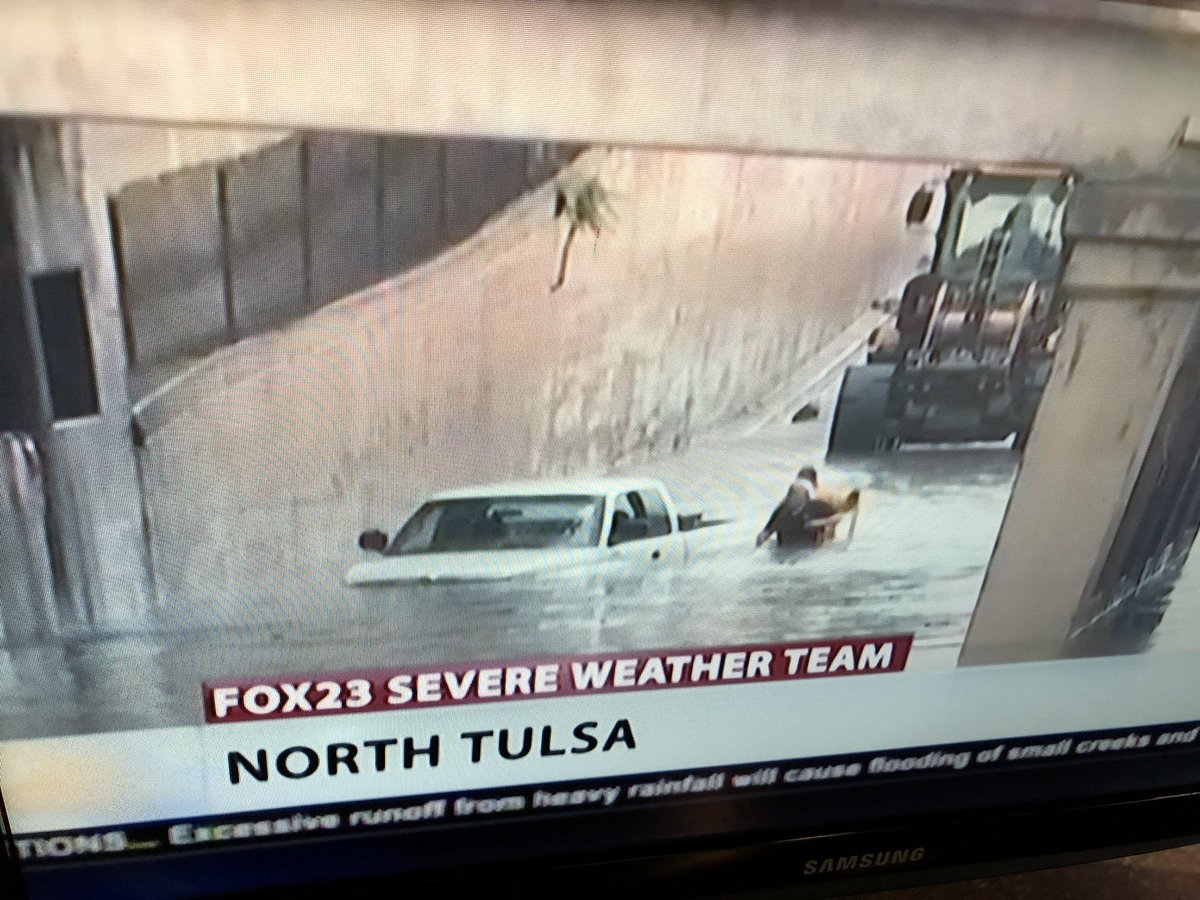Don't get stuck in a situation like this! Driving into flood waters is how most people get in trouble. #okwx