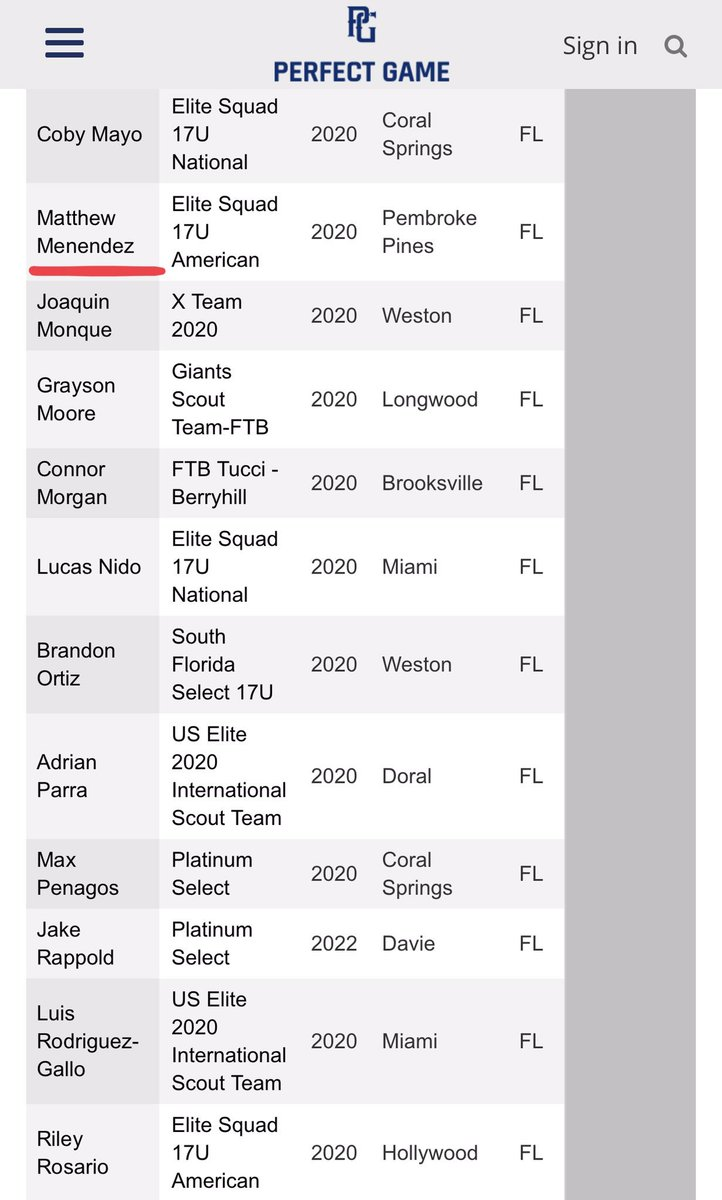 Atta boy! 🔥 Congrats to @MGMenendez21 and the other @EliteSquad #SquadBoys for making the All Tournament Team at the 2019 PG 17u Florida World Series.  #Plakata ⚾️⚫️🔴 #SquadUp @ESB17uAmerican @House_Of_Grind https://twitter.com/PG_Tourney/status/1136661909820850176…
