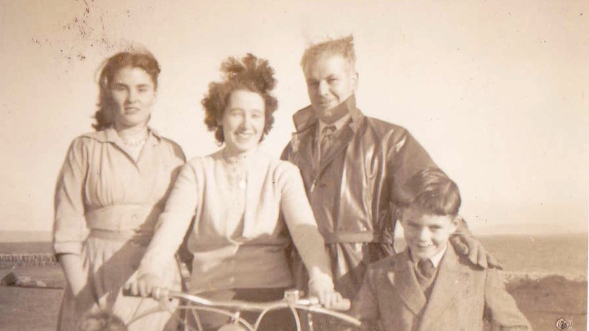 Maureen Sweeney (centre) on her bicycle at #Blacksod #Mayo with friends Delia Melody & Tommy Sweeney and her son Ted Jnr #StormFront #StormFrontInMayo #DDay75thAnniversary
