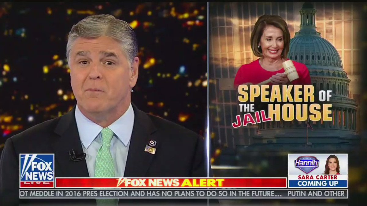 """Sean Hannity actually just said this about Pelosi thinking Trump should be locked up: """"She wants a political opponent locked up, in prison? That happens in Banana Republics. Beyond despicable behavior"""""""