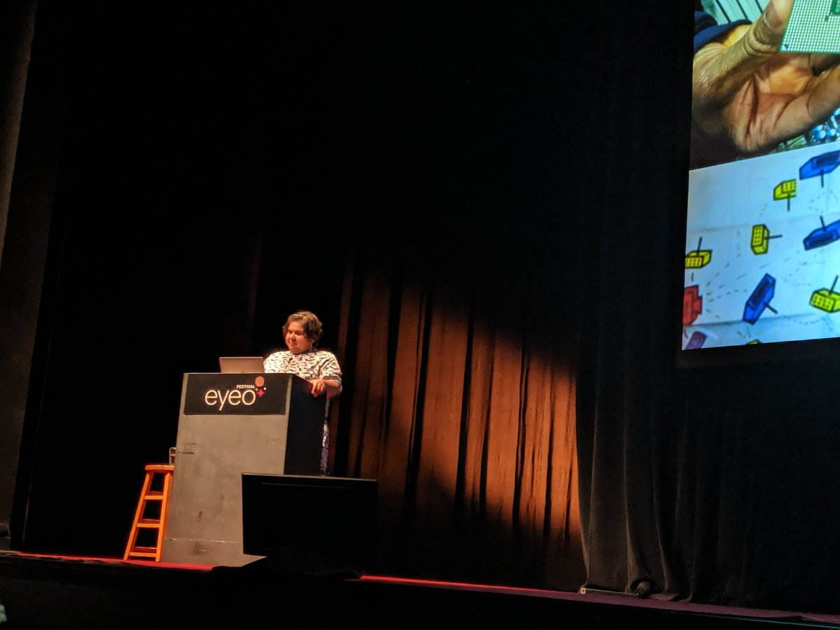 .@mothercyborg is one of my heroes. Having her here to close #Eyeo2019 is such a joy and a privilege.