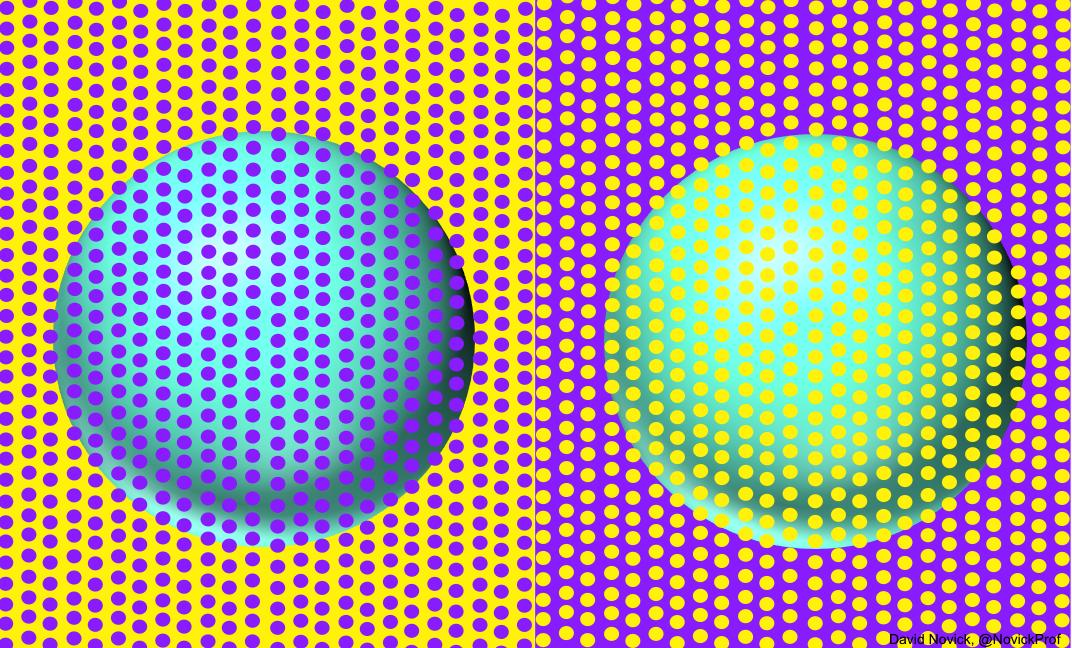 おわかりだろうか。 青に見える球体と緑に見える球体は全く同じ色であることを。