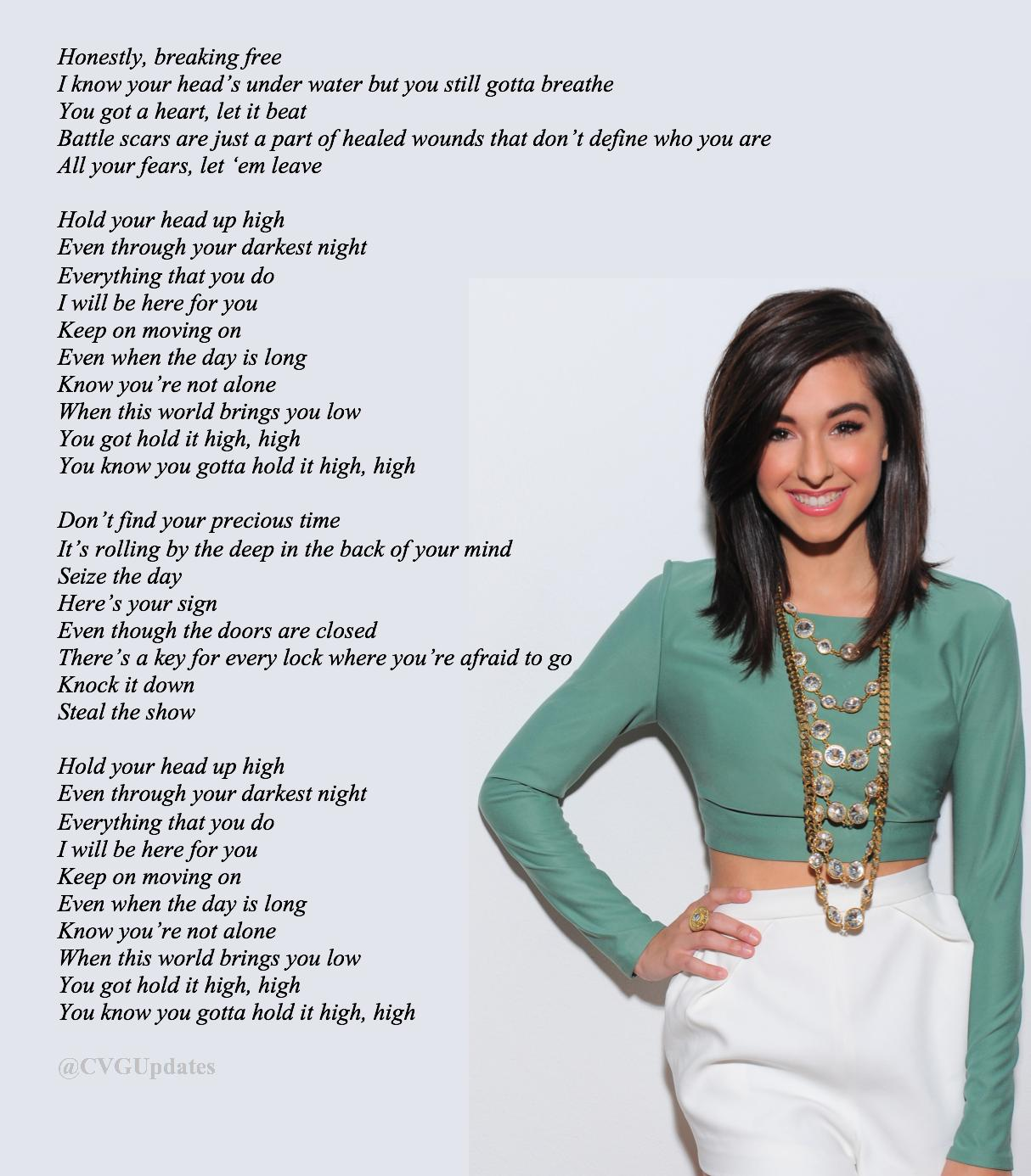 "Grimmie Updates on Twitter: ""Lyrics to Hold Your Head Up by Christina  Grimmie #HoldYourHeadUpOUTNOW #SummerOfGrimmie… """