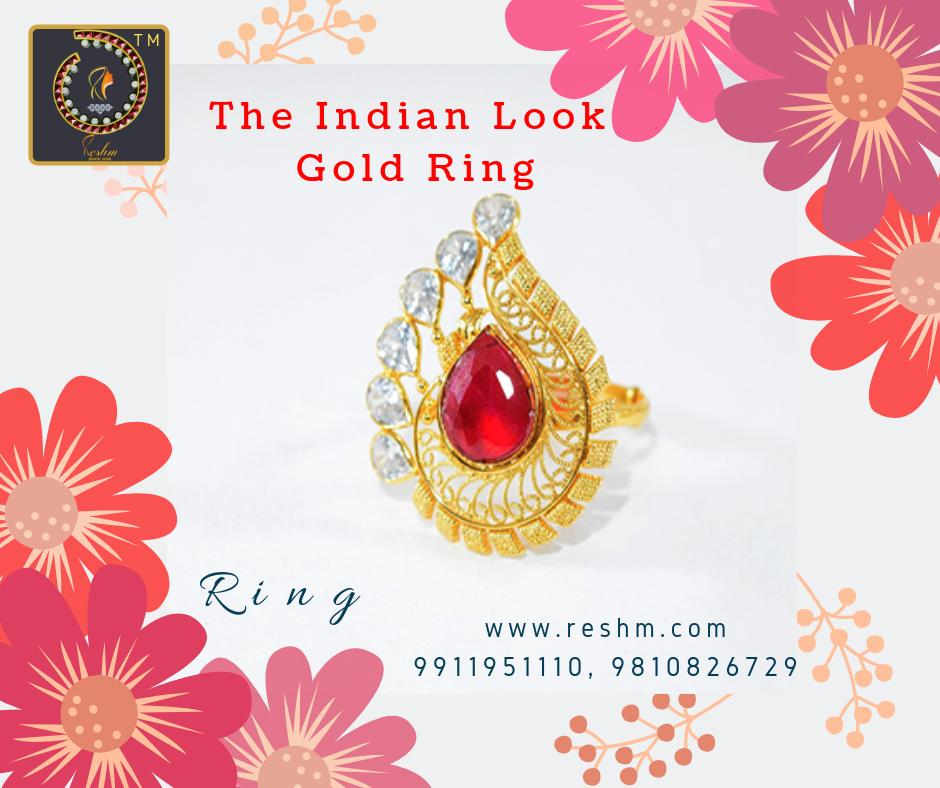 The Indian Look Gold Ring with Ruby and Polki by Reshamm Shop now:  or Visit our store @ 1st Floor Next to Shoppers Stop GIP Noida #reshamm #Lightweightgoldjewellery #jewelleryinnoida #jewelleryindelhi #jewelleryinncr #goldlovers #jewelleryfans #fashion