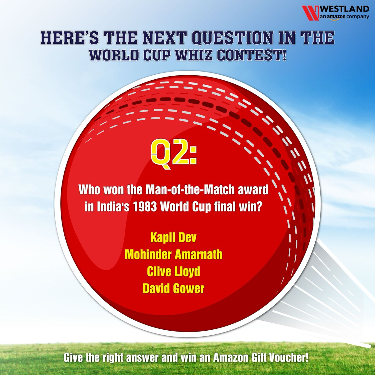 We're back with the next question of the World Cup Whiz contest! Leave your answer in the comments with the hashtag #WorldCupWhiz and you could be among 3 lucky winners to win an Amazon gift voucher! Participate now! #Worldcup19 #ICCWC2019