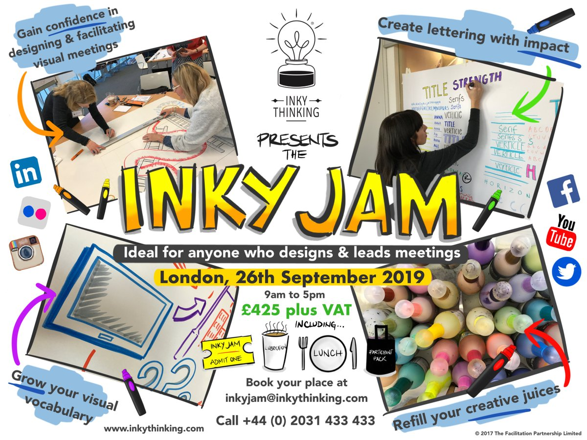 Our last InkyJam in London was sold out. Now theres another chance to learn more about visual facilitation with the Inky Thinkers in a practical & fun 1 day workshop. #facilitation #visualthinking #meetings #employeeengagement #productivity #visualmeeting #inkyjam #inkythinking