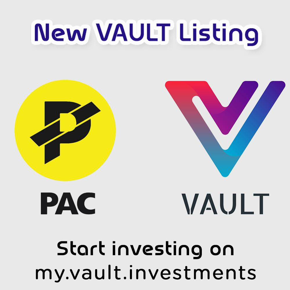 We're happy to announce that $PAC has been listed with Vault Investments @VaultInvest - VAULT is an investment platformoffering top tier, vetted #crypto projects to investors worldwide. #bitcoin #cryptocurrency #blockchain #hodl #investing #fintech