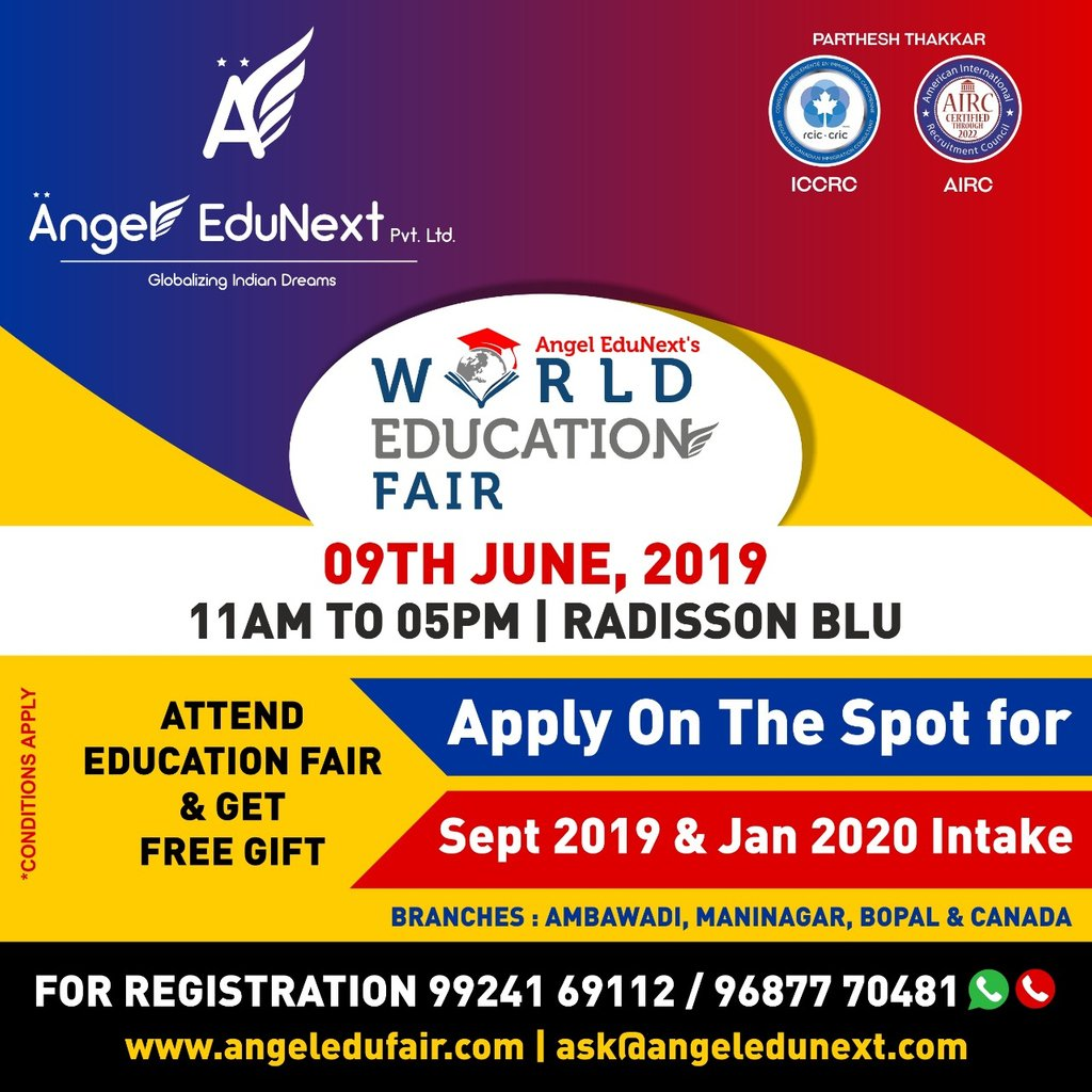 Grab the opportunity, 2 days remaining for Angel EduNext's World Education Fair 2019  Register now for free on http://www.angeledufair.com  #WorldEducationFair #EducationFair2019 #CareerGuidanceSeminar #CareerCounselling #GlobalEducationFair #AngelEduNext #PartheshThakkarpic.twitter.com/sdwC77wuKU