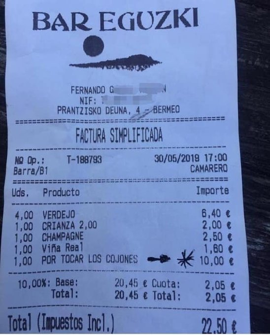 Un supplément de 10 euros... pour avoir été lourds avec le personnel du bar