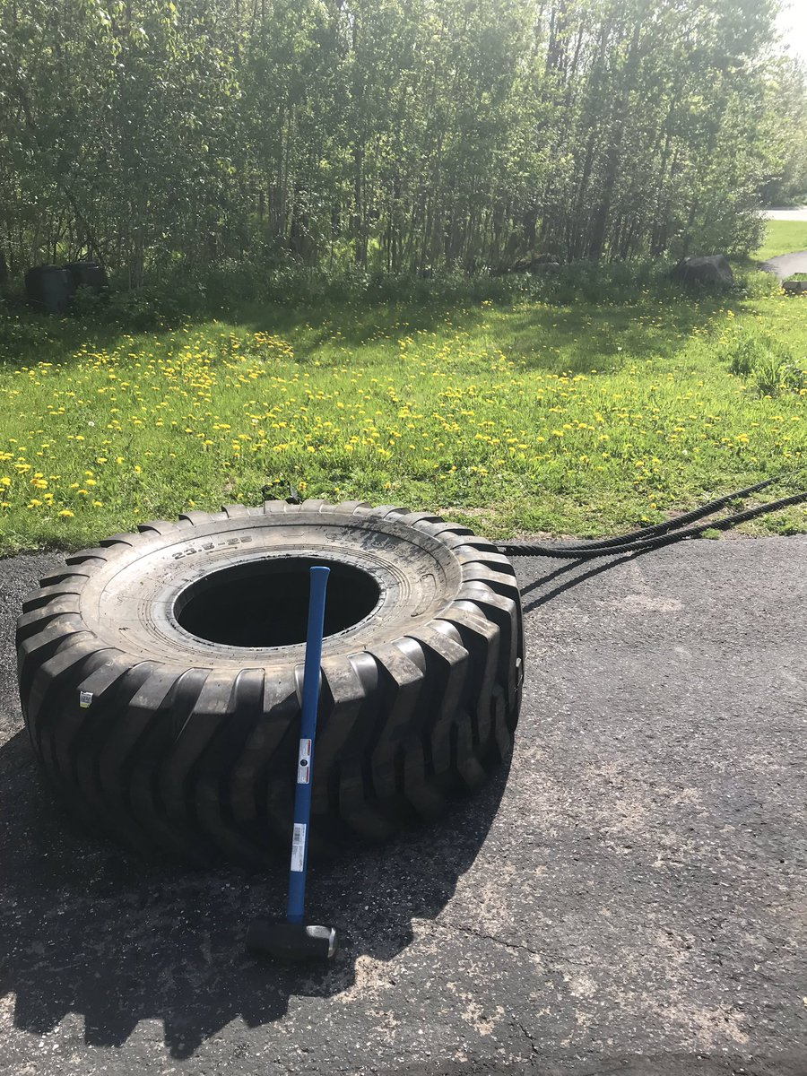 Who needs a gym membership when you have a big ass tire, a sledgehammer, and battle ropes on a beautiful day?