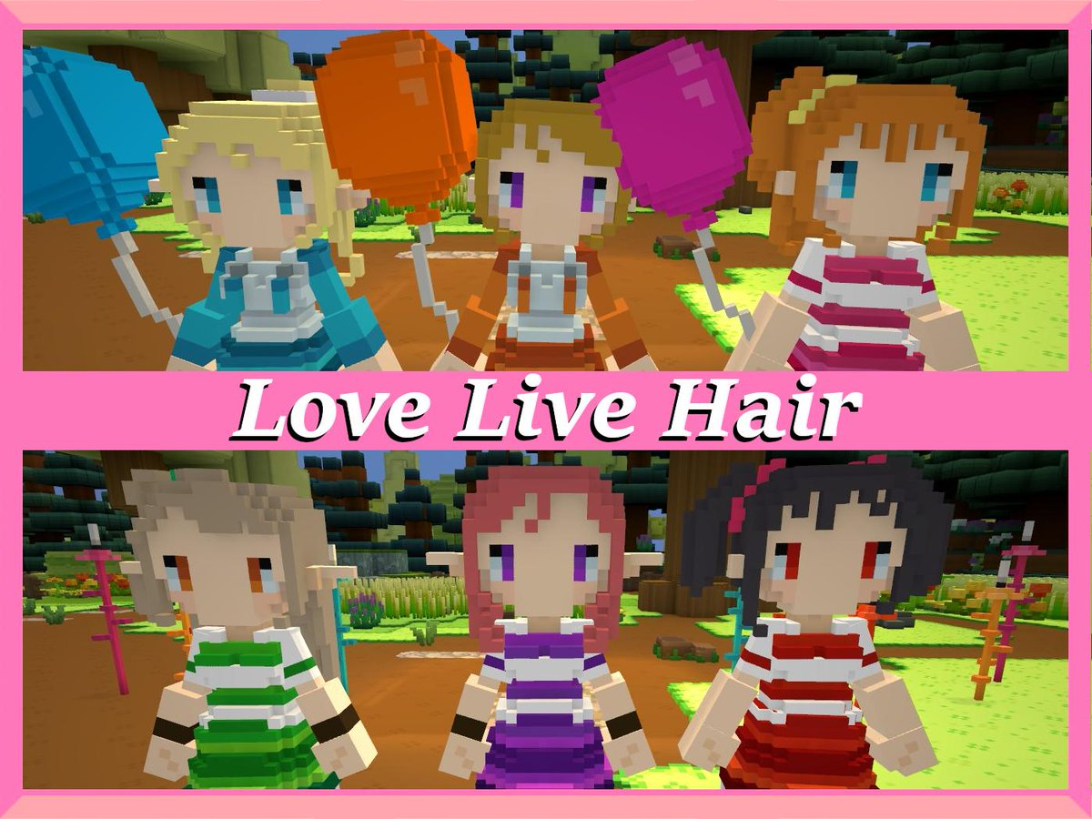 Last year in the @StaxelGame discord I got a #GameMod request to add the hairstyles of the girls in #LoveLiveAnime. It's on the #SteamWorkshop! There's only 9 styles atm but I may add more later.  Process: https://youtu.be/JrBY-QalTDk Mod link in description!  #StaxelMods #VoxelShop