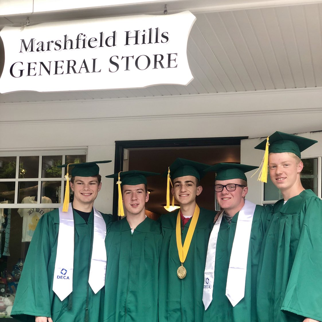 These five grew up buying penny candy and bouncy balls at the Marshfield Hills General Store. This weekend, they'll graduate from Marshfield High School, but the store will forever be a part of their childhood. @SteveCarell