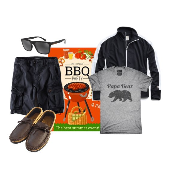 Father's Day BBQ Party outfit idea for men.  #aexme #toddsnyder #fathersday #chummytees #ezcontacts #outfitideas #outfitcollage #outfitideasformen #shoplook #outfitcollage #polyvore #polyvoreoutfits #polyvorefashion #dadstyle #graphictees #papabear #championjacket #cargoshortspic.twitter.com/P0sTfHeRB1