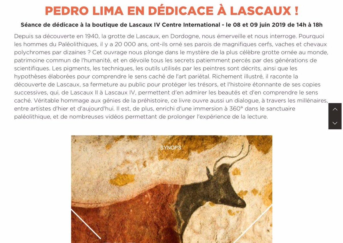 Rendez-vous ce week-end @LascauxOfficiel pour échanger avec le public et signer mon livre Tout Lascaux, édité par @Synops1 : https://www.lascaux.fr/fr/agenda/63-pedro-lima-en-dedicace-a-lascaux…