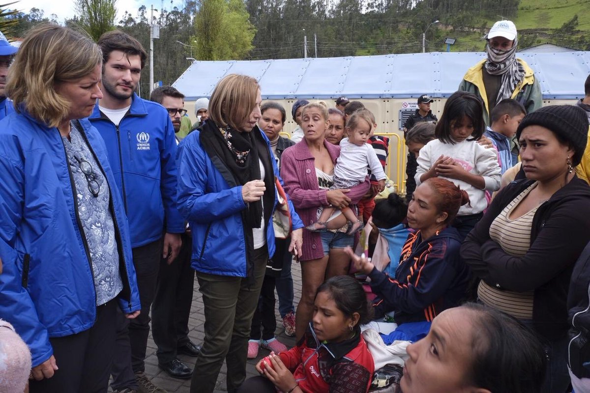 We have met courageous Venezuelans in Ecuador. Many lacking documents, without a sense of what to do next.   Impressed by the response & solidarity of @CancilleriaEc and the Ecuadorian people. We stand by to support protection of those forced to flee.  Tomorrow Colombia 🇨🇴