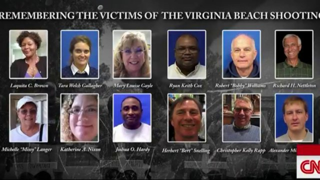 One week ago, 12 people were killed at a municipal building.  Today, we remember the victims of the Virginia Beach shooting. https://cnn.it/2K3aUEE