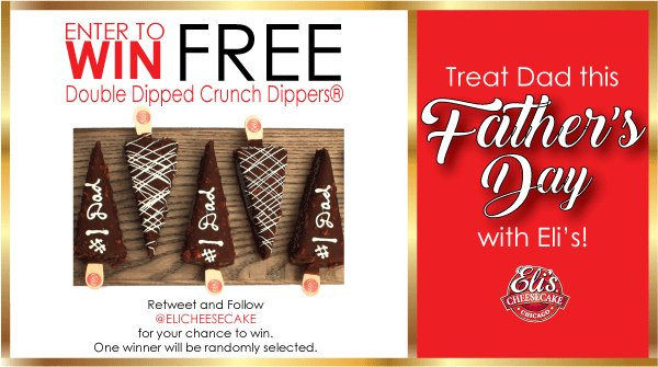 Treat Dad this #FathersDay ! Follow @ElisCheesecake and #RetweetToWin Eli's Double Dipped Crunch Dippers® just in time for Father's Day! One winner will be randomly selected on 6/10/19 at 4pm CST. No purchase necessary. <br>http://pic.twitter.com/HV7urOxFC4