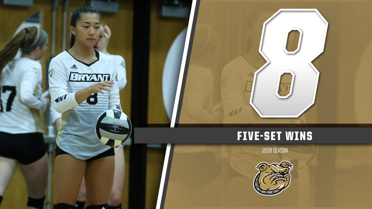 We recorded 8⃣ five-set wins in 2018, with all but one of them coming away from the Chace.  #GoBryant | #NECVB