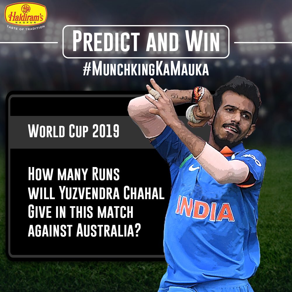 #ContestAlert Will India's beloved spinner Yuzwendra Chahal bowl maiden overs or will he let the Australians score ? Predict and win a #MunchingKaMauka Haldiram's Hamper. . . Terms & Conditions.  https://www.facebook.com/296929343792639/posts/1333299740155589?s=624980014&sfns=mo …