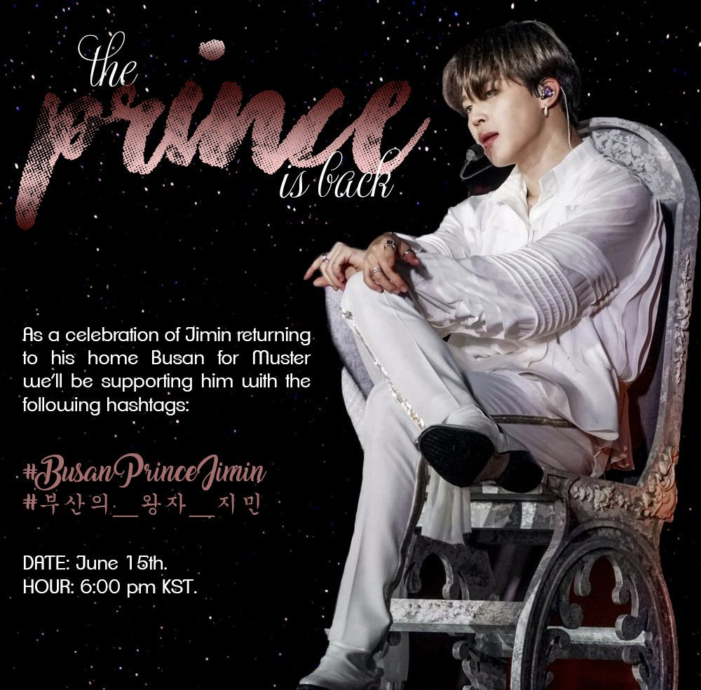 👑 The Prince of Busan is coming home... Lets give Jimin a homecoming befitting a royalty 📅2019.06.15 📌18:00 KST #/BusanPrinceJimin #/부산의_왕자_지민 #JIMIN #지민 @BTS_twt