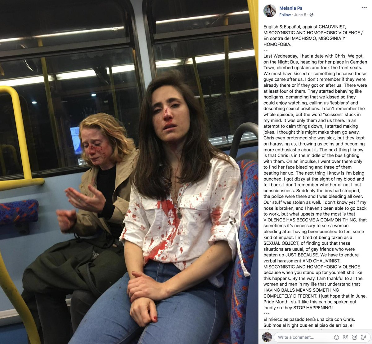 Police say two women were assaulted and robbed by four men in a homophobic attack on a London bus. They are looking for witnesses.  A woman said on Facebook that men beat up her and her date after they refused to kiss for them.