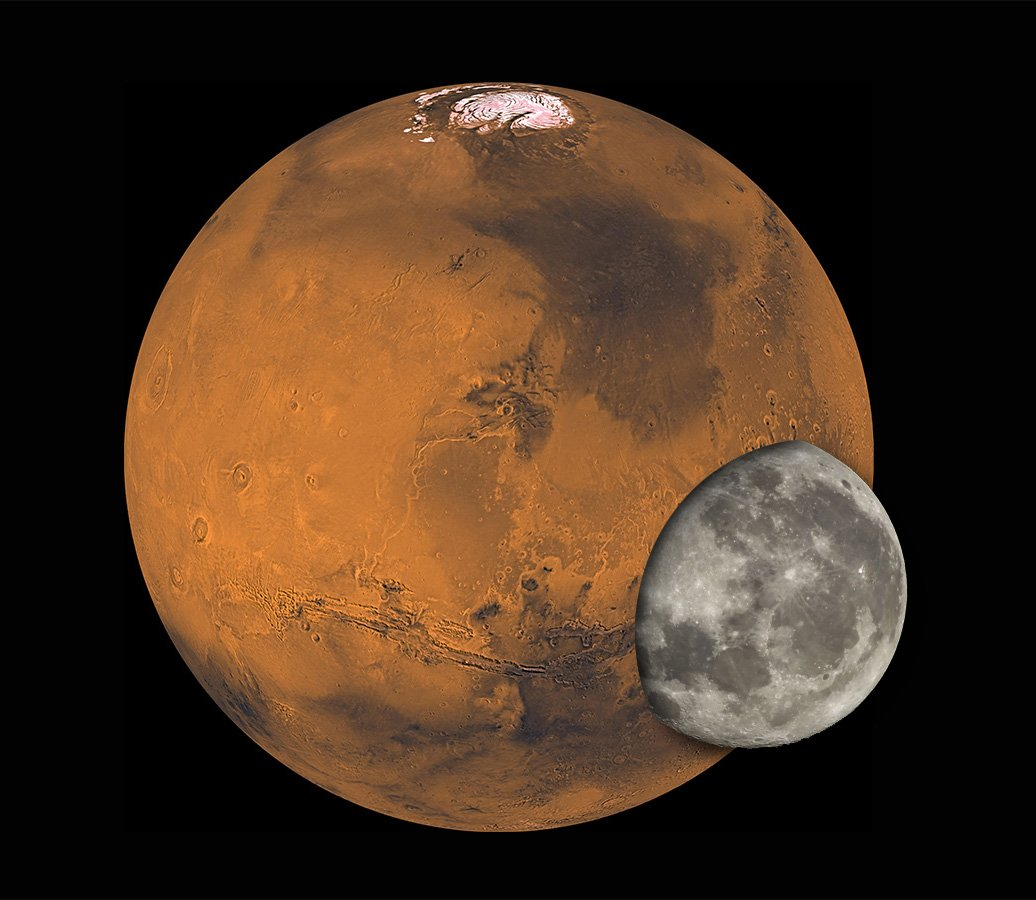 mars compared to the moon - HD 1036×900