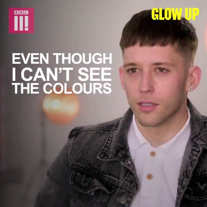 I can still create exciting stuff, even though I cant see the colours. Make-up artist Leigh @Easthope_FX isnt letting his colour-blindness hold him back. #GlowUp is on @BBCThree.