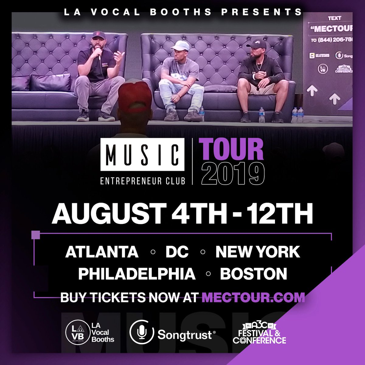 The Music Entrepreneur Club is hitting the road once again!   ATL, DC, Philly, NYC and Boston🔥  Presented by @LAvocalbooths Sponsored by @songtrust @A3C   Early bird tickets available through June👊🏽💎   http://MECTour.com