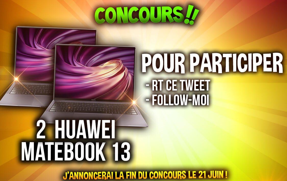 🔴 [CONCOURS #sponsorisé] Suite à la vidéo d'aujourd'hui, je vous fais gagner 2 ordinateurs #HuaweiMatebook ! Pour participer, c'est simple : #RT ce tweet + #Follow https://t.co/3TvyfITCUt