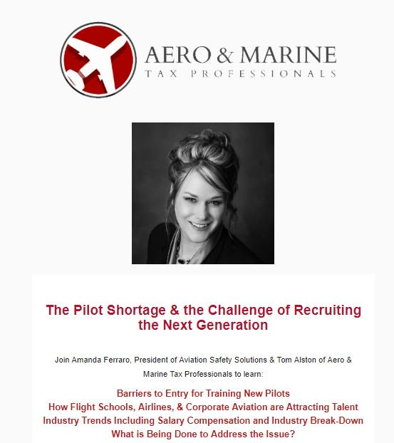 Attended #Excellent #Webinar Recently by #AmandaFerraro Hosted by @aeromarinetax  regarding #BizAvJets #Pilot #Shortage - Worth my #Time to #Review #Webinar #Recording again. https://www.aeromarinetaxpros.com/aero/Articles/Webinars/Webinar-The-Pilot-Shortage-the-Challenge-of-Recruiting-the-Next-Generation… #piloting #jetcharter #pilots #jets #businessaviation