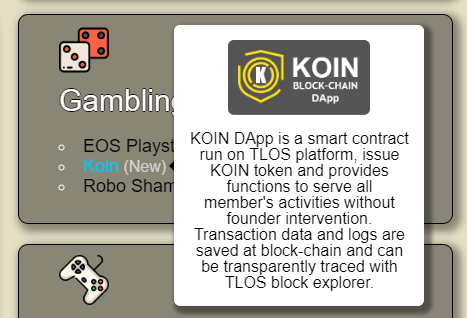 Koin is newly added to the Telos Web directory. Check it out at https://teloscentral.com