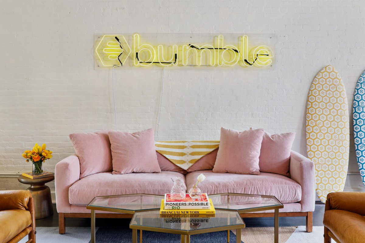 Dating and networking app @bumble got a colorful NYC annex with our help. See what all the buzz is about.  Hive Mind: A Buzzy NYC Office for Bumble https://t.co/AiiRGctcJX https://t.co/w5DEiQVSuE