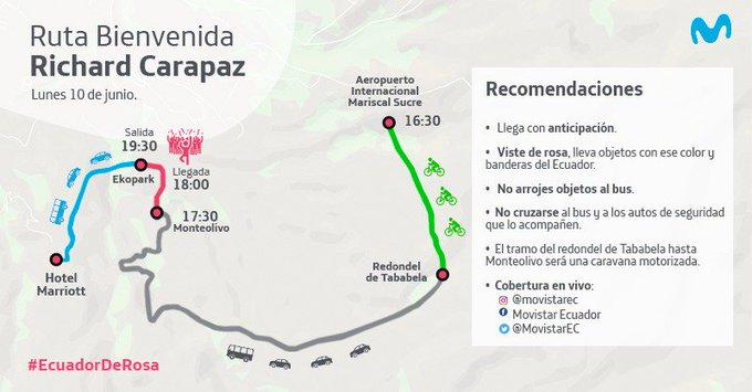 El campeón Richard Carapaz será recibido con caravana ciclística en Quito el 10 de junio
