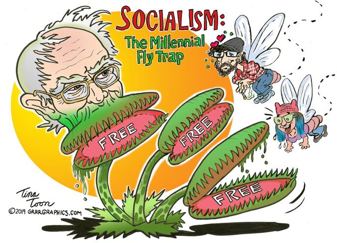 Fly Trap for Naive Dummies   My advice for #millennials, do not be a fly falling for the sweet (and fatal) nectar of #socialism.  #TinaToon for #FridayThoughts  MAGA Trump via @GrrrGraphics   https:// grrrgraphics.com/socialism-mill ennial-fly-trap  …  #BigGovSucks #SocialismKills #Bernie #AOC #cartoons <br>http://pic.twitter.com/tynQLs7YPT