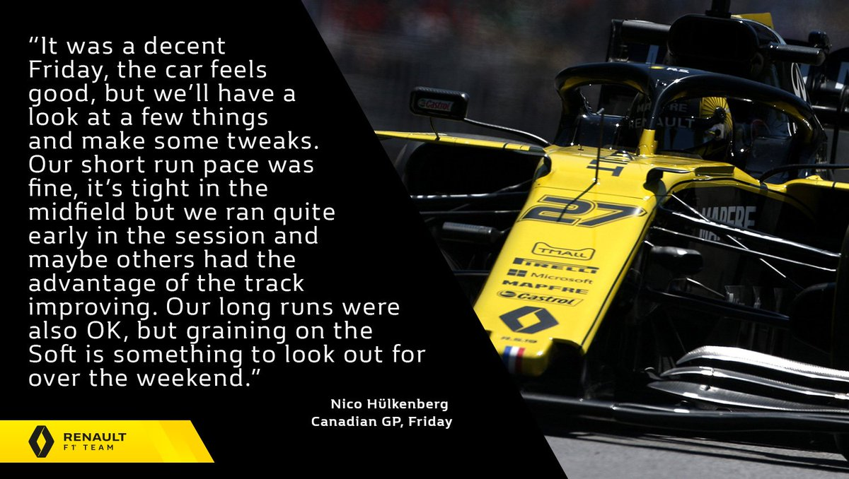 "🎙 ""I'm reasonably happy with today. It's always fun around here and I really like the track.""  Nico Hülkenberg -  #CanadianGP, Friday 👇 Full report 👉 http://bit.ly/2KyHaPv   #RSspirit"