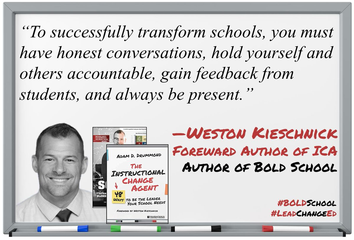 "I am honored that @Wes_Kieschnick wrote the foreword to ""Instructional Change Agent"" An amazing teacher's teacher, Weston offers daily inspiration and motivation. Thanks Weston! #LeadChangeEd #BoldSchool #Leadered #TeachingKeating #edchat #teched #suptchat http://leadered.com/ICA"