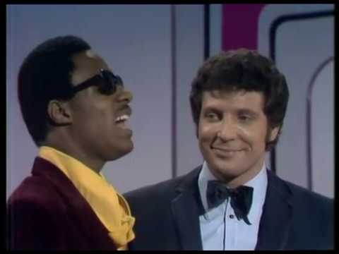 "Happy birthday We\re watching the ""This is Tom Jones\"" episode with Stevie Wonder.  What a pair!"