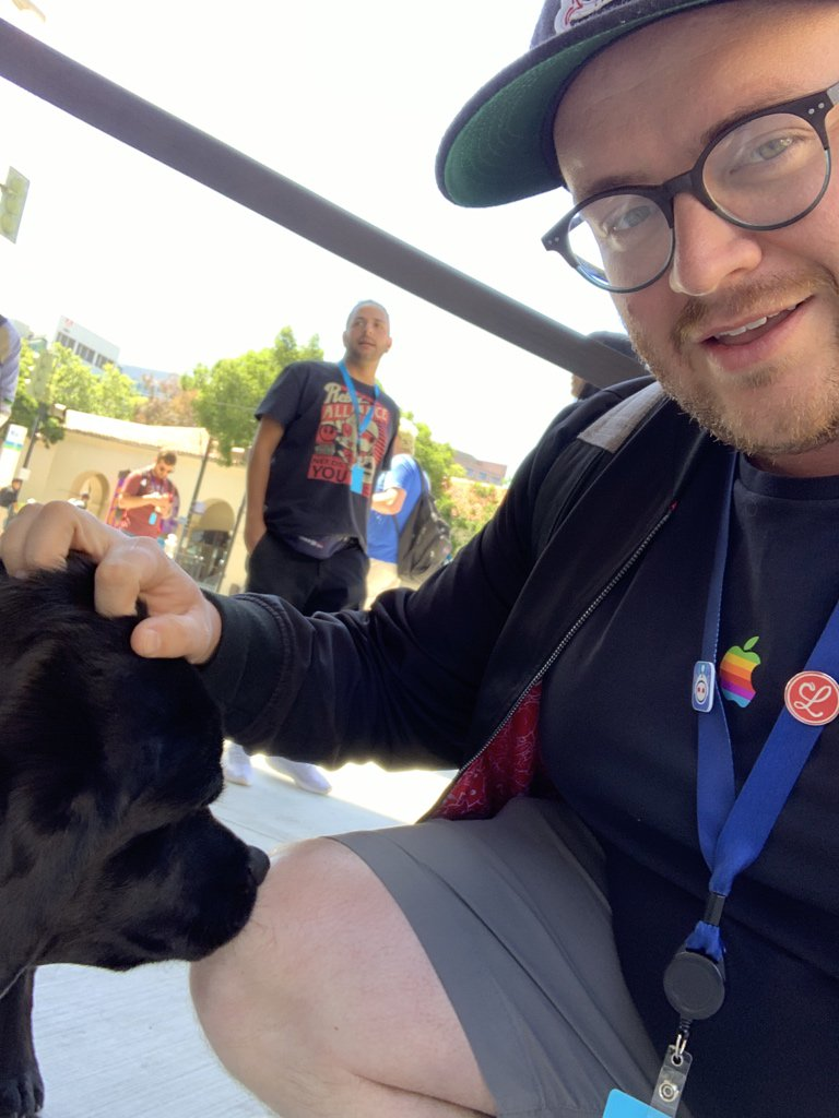 I thought the highlight of #WWDC19 was SwiftUI but nope it was petting basil who is a very good boy