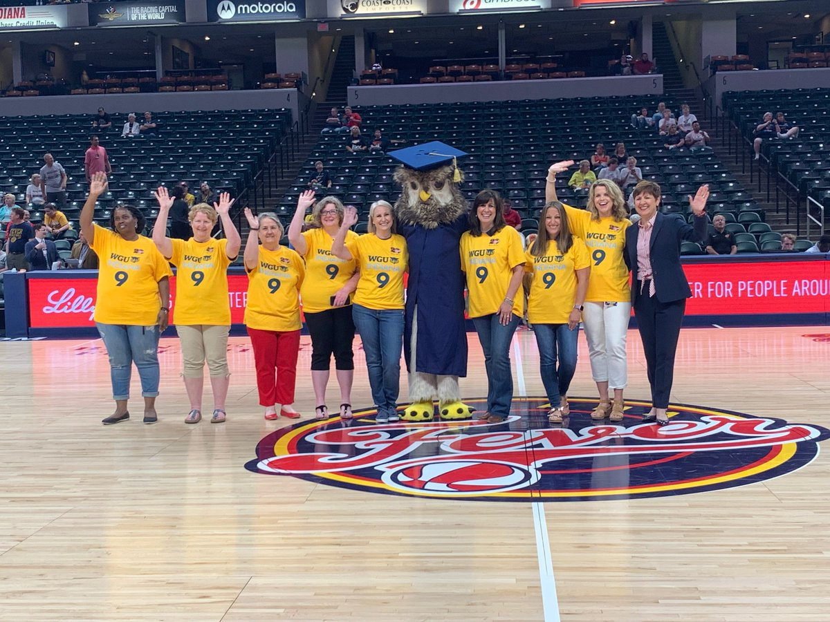 It's #WGUIndianaNight here at @TheFieldhouse!  @WGUIndiana is proud to celebrate its 9th anniversary this month. Tonight, in attendance are 9 of the original faculty who were hired when WGU Indiana was launched in 2010.  #Fever20 #AllForLove