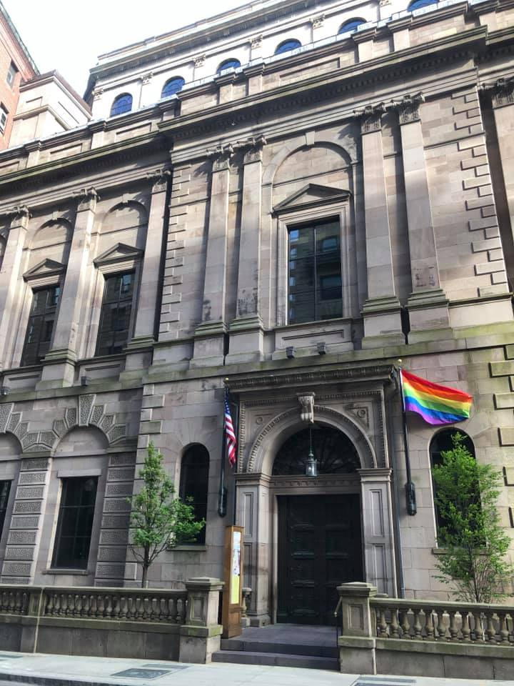 Tonight all's quiet as a 170-year-old #library building closes its doors for the day.   Tomorrow we welcome the #Pride Parade to Beacon Street! Looking Back, Loving  Forward.   Stop by for one of our Pride postcards, and register for related public events.