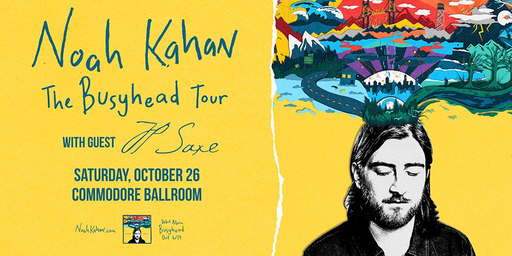 SUPPORT ADDED: @jpsaxe  will open for @noahkahan on Oct. 26 at the @commodorevcr! Get your tickets now: http://bit.ly/2WTwnWH