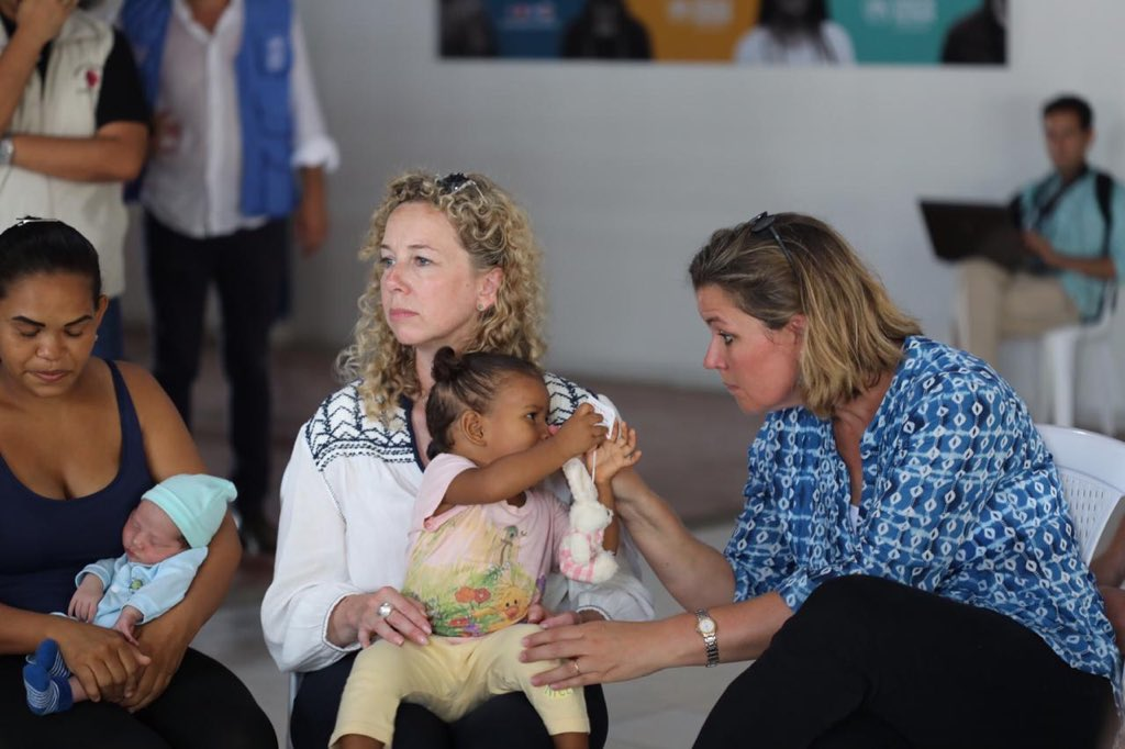 Today I met Tamara and her 2 children in Colombia. Her son is just 7 days old. She is one of 1.3 million refugees and migrants who have fled Venezuela Contributions from 🇺🇸 @StatePRM to the Venezuela situation allow this family to get much needed safe shelter &health services.