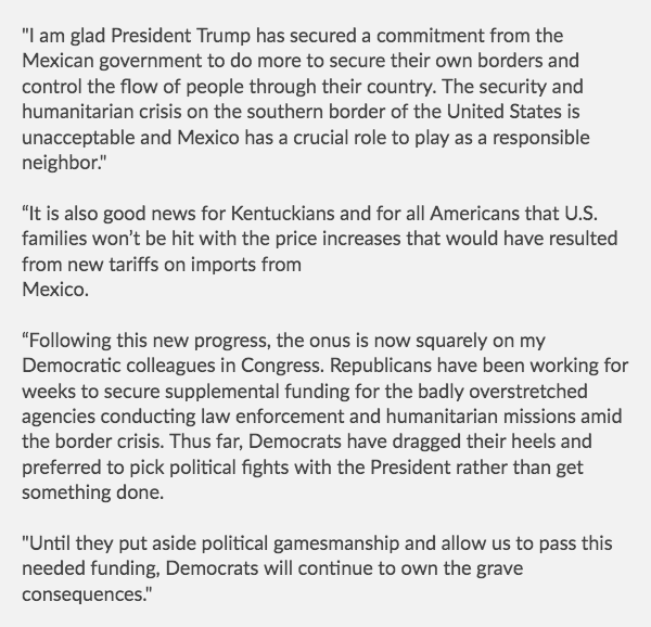 My Statement On The Commitment To Help Secure Our Southern Border:
