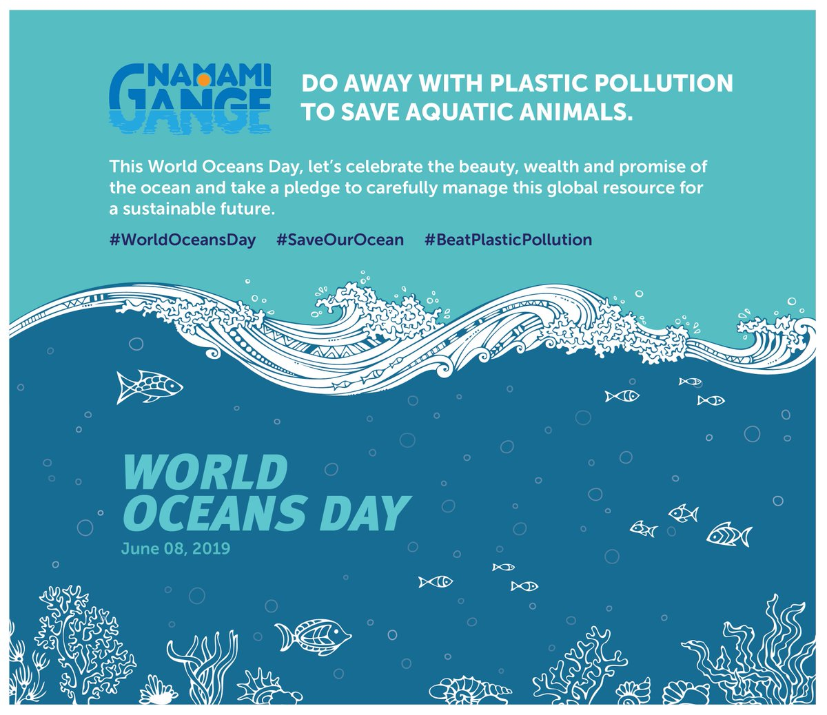 #RT @mowrrdgr: RT @cleanganganmcg: This #WorldOceansDay, let's celebrate the beauty, wealth and promise of the ocean and take a pledge to carefully manage this global resource for a sustainable future.  #NamamiGange