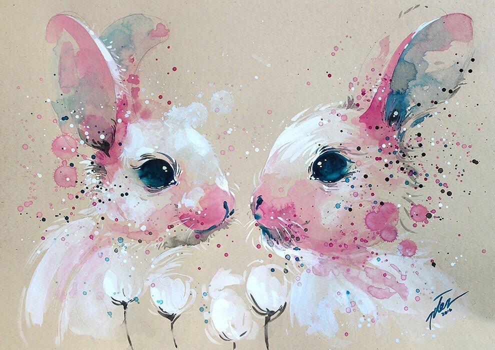 Картинки нарисованные акварелью животные