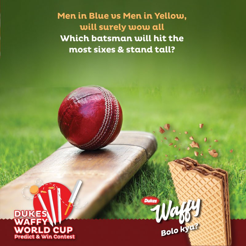 Take part in the #WaffyWorldCup #PredictAndWin Contest by simply guessing which batsman will hit the most sixes in tomorrow's #cricket match & win an exciting prize. #DukesWaffy #BoloKya #wafer #CWC19 #TeamIndia #ICCWorldCup2019 #WorldCup2019 #CricketFever #ContestAlert