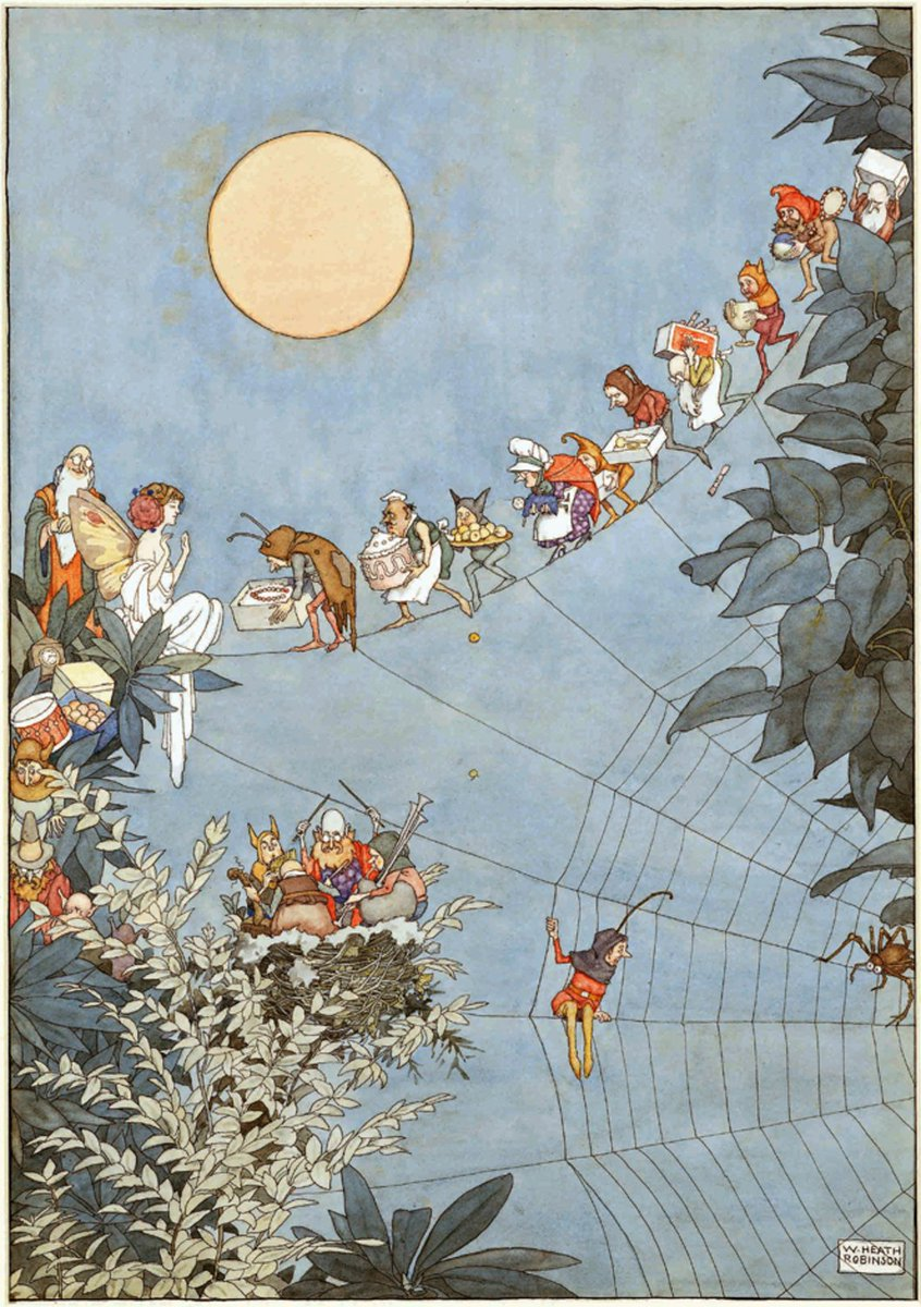 The Fairy's Birthday, 1925, by William Heath Robinson.   #BookIllustrationOfTheDay <br>http://pic.twitter.com/7B6QHru0tO