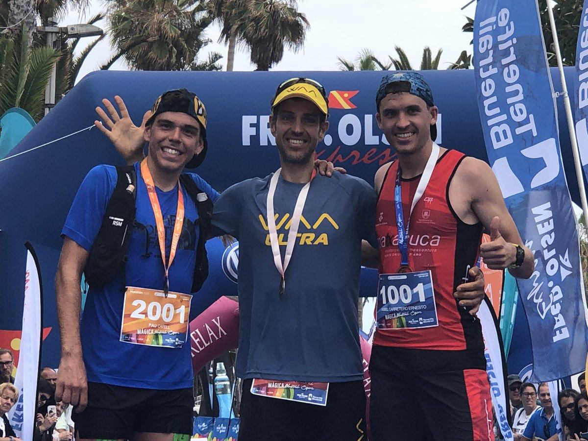 Trio de ases en Ultra-Trail-Maratón de #Tenerifealpinultras. Oro para @yerayduran Abel Carretero y @paucapell. Bravo! Carrerasdemontana.com/tag/tenerife-b…