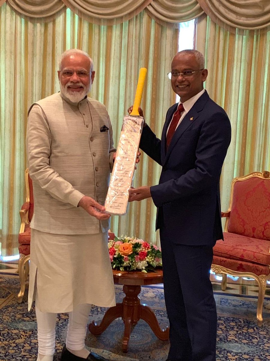 Connected by cricket! My friend, President @ibusolih is an ardent cricket fan, so I presented him a cricket bat that has been signed by #TeamIndia playing at the #CWC19.