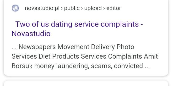 two of us dating services complaints